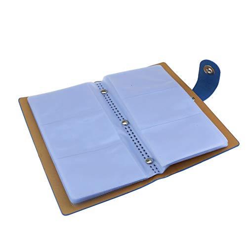 Tarjeta de visita titular álbum tarjeta de nombre libro tarjeta de crédito organizador para 300 tarjetas con cierre magnético cubierta de cuero (azul)