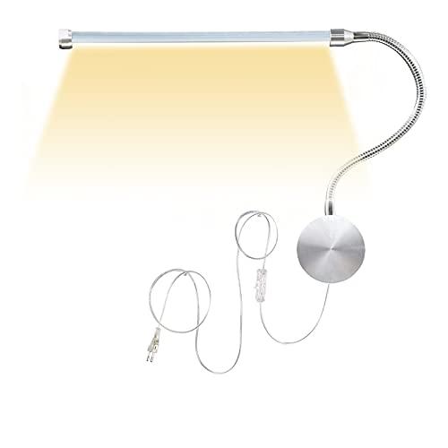 VOMI Lámpara de Lectura LED 6W, Lámpara de Pared Interior con Interruptor, Enchufe-UE y Cable, Luces de Noche de Cuello de Cisne Flexible Ajustable 360 °, Regulable 3000-6000K para Estudio Dormitorio