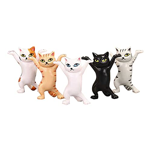 LOUQINGDZ Plüschtiere 5 stück Bezaubernde Katze Stift Halter Ornamente Tanzen Katze Cartoon Kitty Spielzeug Puppe Kleines Geschenk Heben Hand Katze Halten Katze Schreibtisch Dekor (Color : A)