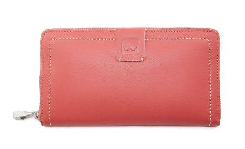 Delsey Declaration Damen Reißverschluss Geldbörse Portemonnaie Geldbeutel Nappaleder 002562080, Farbe:Koralle