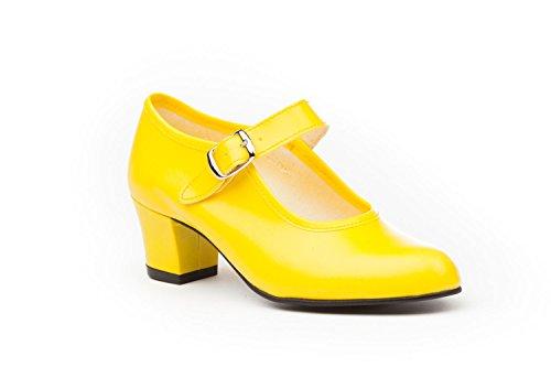 Zapatos Flamenca Para Niña y Mujer, Mod. 302, Calzado Made In Spain (37, Amarillo)