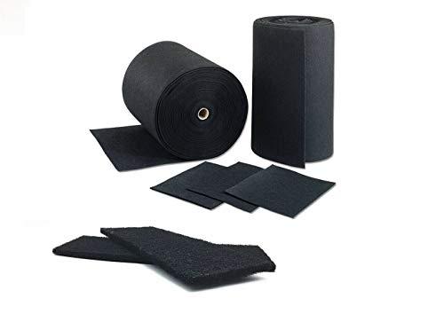 Aktivkohle Abluft Filter Vlies Universal Filtermatte (1m x 1,90m) Dicke ca. 10 mm