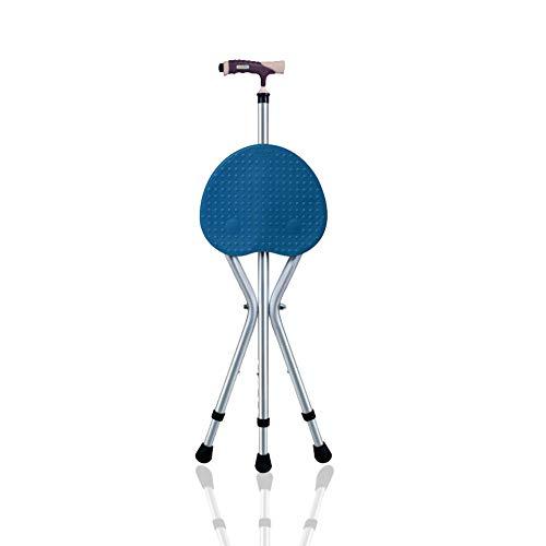 MOXIN Canne siège trépied Pliable, Hauteur Ajustable, pour Plus de Soutien et de Confort, léger, Se Plie Facilement, Aide à la mobilité pour Personnes âgées ou handicapées,Blue