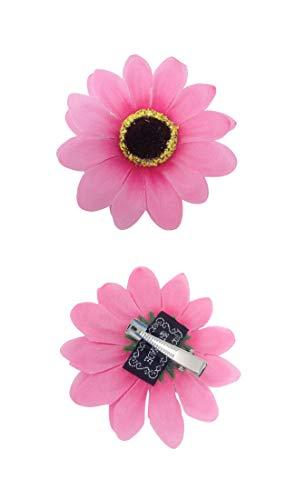 Faschingskönig 60er 70er Jahre Hippie Haarschmuck Blume Flower Power Outfit Zubehör Haarclip Blumenmädchen (Pink)