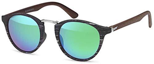 styleBREAKER Sonnenbrille in Holz Optik und runden Gläsern, Kunststoff-Metall-Gestell, Unisex 09020083, Farbe:Gestell Schwarz-Silber/Glas Grün-Blau verspiegelt