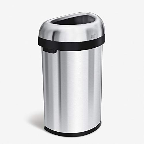 simplehuman 60 Liter / 15.9 Gallon Large Semi-Round Open Top Trash Can Commercial Grade Heavy Gauge, Brushed Stainless Steel