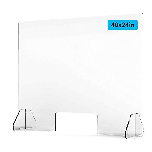Sucastle Protective Sneeze Guard for Counter and Desk 40' w x 24' h/32 h Protective Freestanding Shield for Counters Reception Protection Barrier (Size : 40x24in)