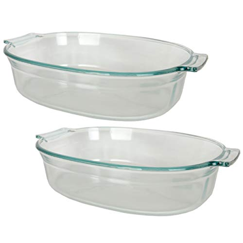 Pyrex 702 2.5 Quart Roaster Glass Dish - 2 Pack