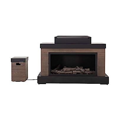 Sunjoy A305000300 Brigham Modern Propane Powered Fireplace with Tank Storage, Brown