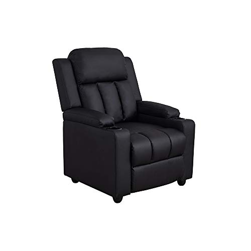 Recliner Reclining Lounge Chair Adjutable Armchair with Drink Holders Occasional Armchair Faux Leather Black Single Sofa Chair Push Back Recliner for Living Room Office Cinema Gaming Chair
