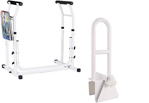 Vaunn Medical Bathroom Safety Bundle - Adjustable Toilet Rail and Bathtub Grab Bar Rail