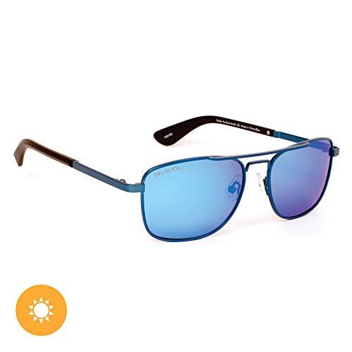 DelSol Solize - Gafas de sol que cambian de color para hombre - Bajo el paseo marítimo - Cambia de color de carbón a azul en el sol - polarizado Pro, lente espejada, 100% protección UVA UVB