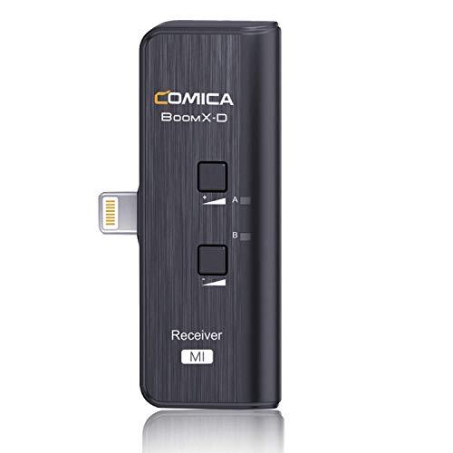 Comica BoomX-DMI RX 2.4G Sistema de micrófono inalámbrico para micrófono BoomX-D,compatible con iPhone/iPad,micrófono de teléfono inteligente para entrevistas de podcasting Live-stream (1 receptor)