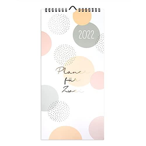 Planer für Zwei 2021 | Jahreskalender als Wandkalender modern mit 3 Spalten, ab Dez 2020 | Übersichtlicher Kalender zum Aufhängen, für zwei Personen