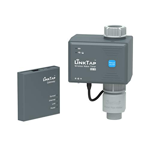 LinkTap G2S Temporizador de Riego Automatico, Gateway y Medidor Flujo - Programador de Riego Inteligente Jardín con App, Control Manual con Bloqueo Digital, Detección de Fallas y Notificaciones, IP66