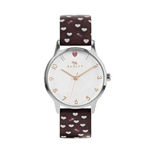 Radley Damen-Armbanduhr mit Herz-Zifferblatt, weiches Kalbslederband, Hund und Herz, RY2941A
