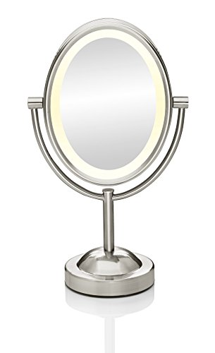 Conair Reflections Double-Sided Lighted Vanity Makeup Mirror, 1x/7x magnification, Satin Nickel