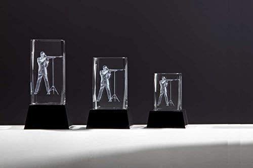 Henecka Schützen-Pokal, Glastrophäe 3D-Lasermotiv Schütze Herren mit Auflage, Kristallglas, mit Blauer Geschenkbox, Größe 8 cm