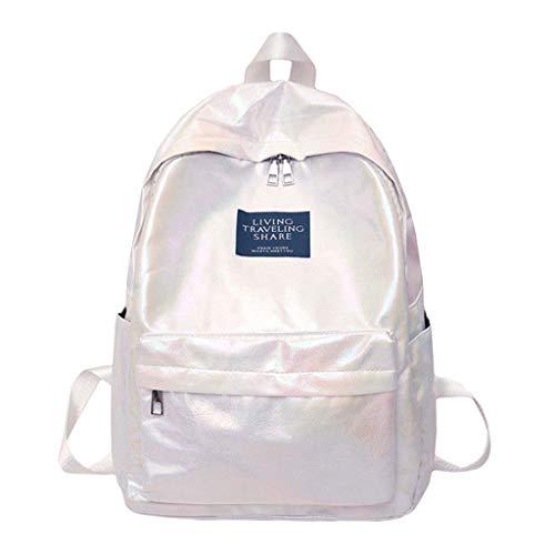 TUDUZ Bolso Mochila Mujer Gran CapacidadColor Sólido Impermeable Mochila Informal Bolsa Para La Escuela (Blanco)