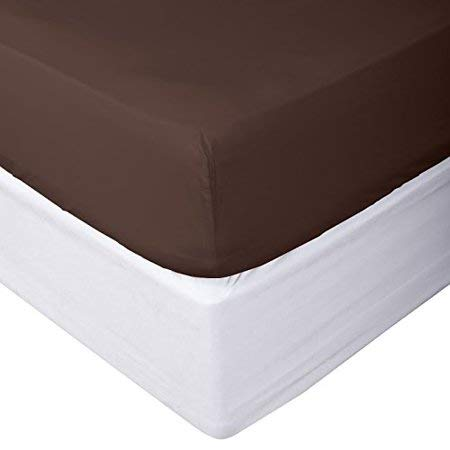 Calico Homes 1 Piece Fitted Sheet Solid 100% Cotton 400 Thread Count (1Piece Fitted ONLY) 10 Inch Deep Pocket (King,Chocolate)