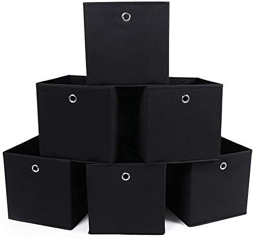 SONGMICS Lot de 6 Boîtes Tiroirs en Tissu Cube de Rangement Pliable Coffre pour Linge, Jouets, Vêtement 30 x 30 x 30 cm Noir RFB02H-3