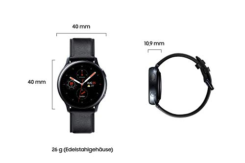 Samsung Galaxy Watch Active2, Fitnesstracker aus Edelstahl, großes Display, ausdauernder Akku, wassergeschützt, 40 mm, LTE, Schwarz