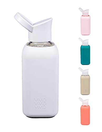 BEVIVID Botella de cristal con funda de silicona, sin BPA, 850 ml
