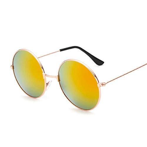 WZL Fashion Candy Vintage Gafas de sol redondas con espejo para mujer Gafas de sol negras de lujo para mujer, GoldRed