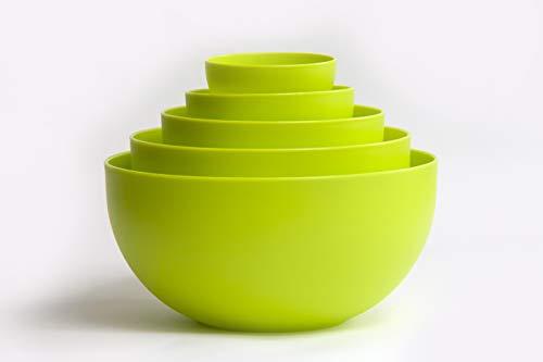 Juego de cuencos de mezcla anidados, duraderos y reutilizables, individuales para desayuno, palomitas de maíz, cuencos para servir y colores vibrantes (verde)