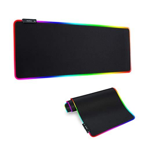 Itopfox RGB-Gaming-Mauspad, groß, dick (800 × 300 × 4 mm), erweitertes LED-Mauspad mit rutschfester Gummiunterseite, weiche Computer-Tastatur-Mauspad für MacBook, PC, Laptop, Schreibtisch