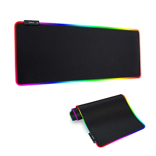 RGB Gaming Mouse Mat Pad - Large Extended Led Mousepad with 14 Lighting Modes 2 Brightness, Anti-Slip Rubber Base with Waterproof Coating Mouse Mat for Gamer 800×300×4mm/31.5×11.8×0.16 inch