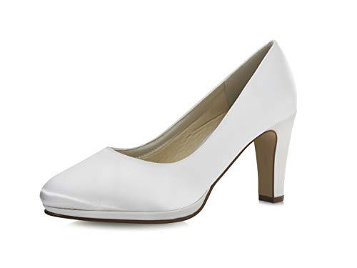 Rainbow Club Brautschuhe Grace - Pumps, High Heels, Weiß, Satin, Größe 42 - Hochzeitsschuhe, Blockabsatz