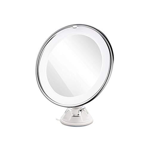 8 pulgadas 10X lupa LED espejo redondo de maquillaje cosmético de mesa con lechón (blanco)