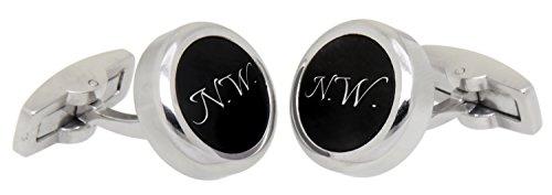 Runde Edelstahl Manschettenknöpfe Edelstahl poliert mit persönlicher Wunschgravur Manschettenknopf Hochzeit cuff link button