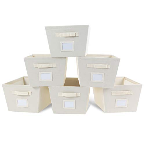 MAX Houser Fabric Cloth Storage BinsFoldable Storage Cubes Organizer Baskets with Dual Handles for Home Bedroom StorageSet of 6Beige