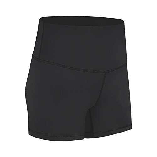 WY1688 Damen Kurze Sporthose Blickdicht Hohe Taille Yoga Leggings Kurz Sport Leggins, Yogahose Workout Shorts Hohe Taille Sport Tights A-Black XL