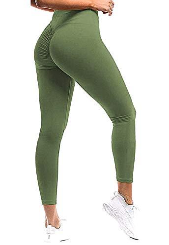 FITTOO Mallas Pantalones Deportivos Leggings Mujer Yoga de Alta Cintura Elásticos y Transpirables para Yoga Running Fitness con Gran Elásticos Verte L