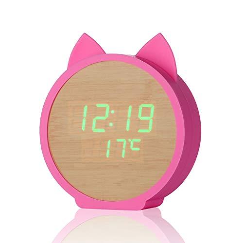Kinder LED Sound Control wekker groen nummer USB opladen kattenklok temperatuurweergave datum en tijd met sluimerfunctie, groen licht, 12/24h Roze