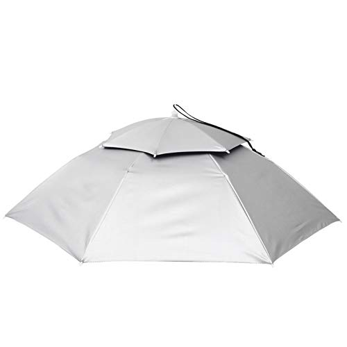 ABOOFAN Guarda-Chuva de Pesca de 95 Cm de Deck Duplo Guarda-Chuva à Prova de Vento Montado Na Cabeça Guarda-Chuva Ao Ar Livre Mãos Guarda-Chuva Chapéu Chapéu de Sol Prateado