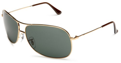 Ray-Ban RB3267 Metal Aviator Sunglasses, Gold/Green, 64 mm
