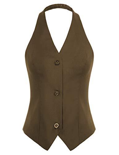 Belle Poque Chaleco con cuello en V y cuello halter para mujer de los años 50, chaleco de traje retro vintage 2229