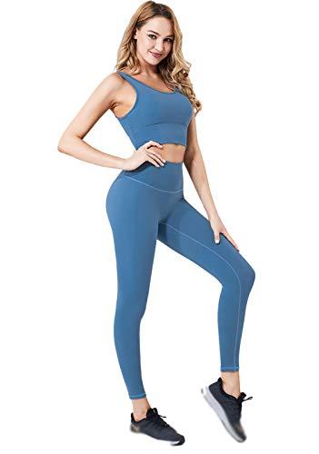 Traje de yoga para mujer, chaleco deportivo y cintura alta para correr, pantalones de fitness azul azul-S