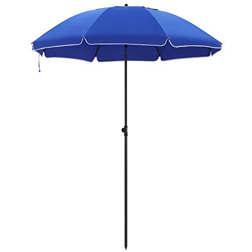 SONGMICS Sonnenschirm, Ø 180 cm, Sonnenschutz, achteckiger Strandschirm aus Polyester, Schirmrippen aus Glasfaser, knickbar, mit Tragetasche, Garten, Balkon, Schwimmbad, Blau GPU65BUV1