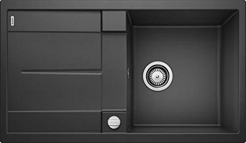 BLANCO METRA 5 S – Rechteckige Granitspüle aus SILGRANIT für die Küche – für 50 cm breite Unterschränke – Mit integrierter Abtropffläche – grau – 513044