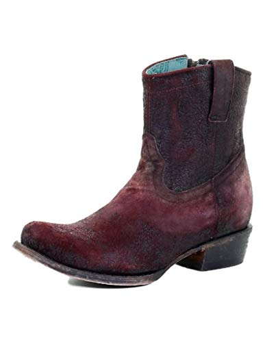 Corral Ld Wine Lamb Round Toe Ankle Boot ,Size 9