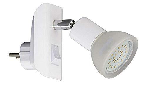 Trango LED Steckerleuchte 11-046 in Weiß mit Glas Lampenschirm, Stecker-Nachtlicht incl. je 1x GU10 3000K warmweiß LED Leuchtmittel & ON/OFF Schalter Leselampe, Wandlampe, Küchen Steckerlicht