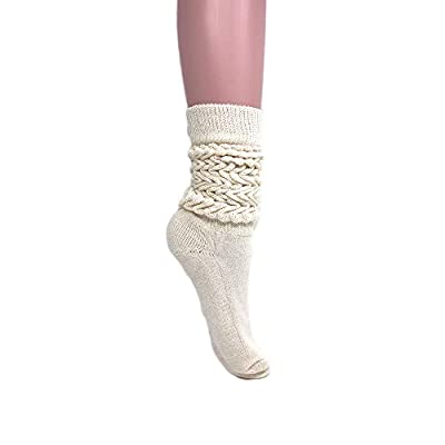 Women's Extra Long Heavy Slouch Cotton Socks Size 9 to 11 (1 Pair - Ecru)