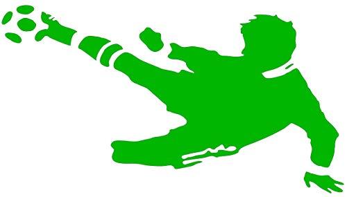 EmmiJules Wandtattoo Fußball-Spieler Fussballer - mit Namen möglich - Made in Germany - in verschiedenen Größen und Farben - Kinderzimmer Junge Fußball WM EM Sticker Aufkleber (110cm x 75cm, grün)
