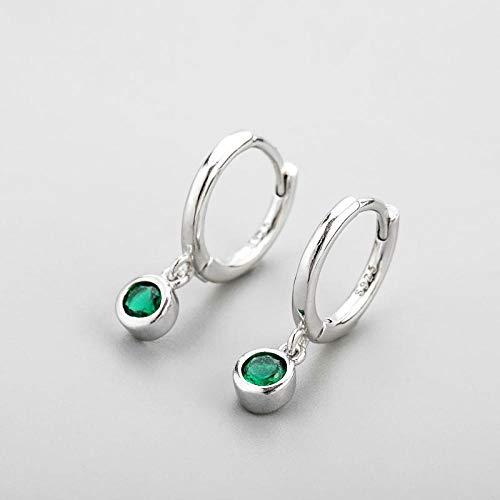 Pendientes Mujer Pendientes De Aro De Circonita Verde De Plata De Ley 925 Pendientes De Aro para Mujer Regalos De Joyería-Silver_Color