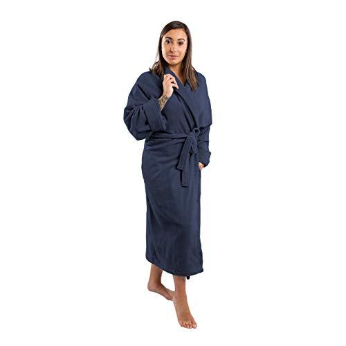 Clarysse Peignoir Femme en éponge de Coton Biologique, Robe de Chambre pour Hommes et Femmes avec col châle en Velours de qualité hôtelière, Taille XL-XXL, Bleu foncé